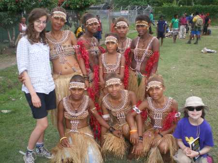 Lola and Nell with custom dancers from Lau, Malaita - they'll be dancing at the Pacific Arts Festival in July 2012, which will be held for the first time ever in Honiara.