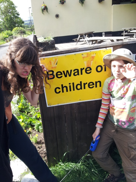 Kids: ever so scary? Possibly this sign in Newcastle upon Tyne was warning drivers not to run tots over...