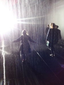 Singing in the rain room (an art installation where you get to control the flow, can't do that outside).