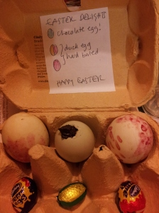 Add a key so your lucky recipient knows which egg is chocolate. We had to use a few shop-bought chocolates intended for the easter egg hunt to make our gift look a bit more generous.