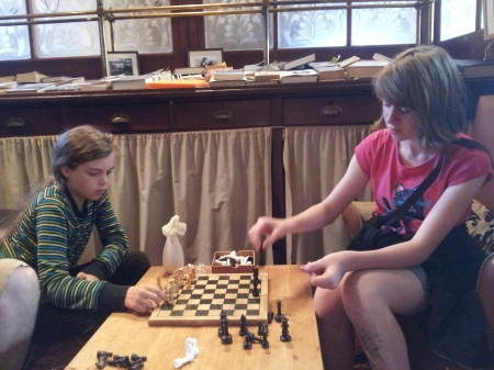 Battling for the seat at the winning table. Or just a game of chess.