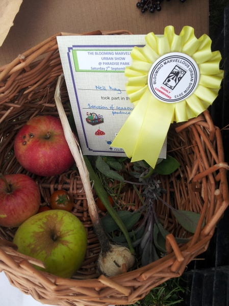Basket of homegrown veg by Nell, 12, gets highly commended. It made a nice salad too.