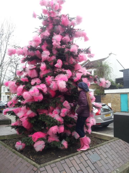 I loved the way this decorated tree can be a perfect hiding spot.