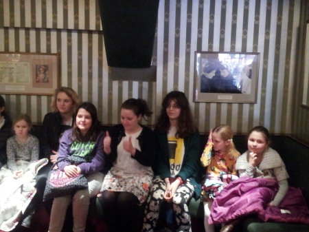 Les Mis Kidz club attendees with member of the cast Sarah xx.
