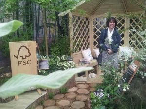 Executive Director of FSC-UK, Rosie Teasdale, at the show. The strange foreleaf is in fact from a whitebeam tree (perspective here makes it look a bit like a banana). The bug hotel was to the left of the impressive FSC display board.