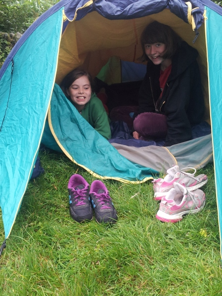 During the 2013 holidays Nell and her friend were determined to camp so we brought our broken tent and let them put it up. They moved back inside when the rain started leaking in.