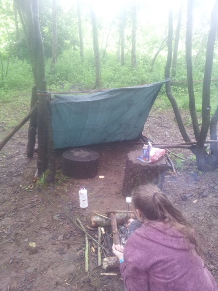 The shelter we put up... view from our fire! Learning skills at Conkers in the National Forest. (c) homemadekids/nicola baird