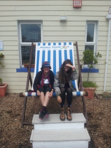 Nicola and Lola get into holiday mood on the Isle of Wight in the giant deck chair at Node's Point near Bembridge. This holiday resort even offers pony treks along the beach.