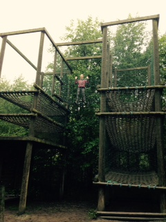 Nell couldn't scale the wall, but she could nip up the rigging to the top of this obsctacle. I was on camera duty. (c) homemadekids/nicola baird