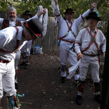 The Morrismen dancers turned up and invited everyone to join in. I have to admit that I abandoned my stall for a dance waving handkerchiefs. If you don't have fun at these big events you don't want to do them when you're asked next time.