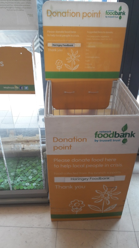 When you use a supermarket look out for foodbank collection points. At some Morrisons and Waitrose on a saturday there are often food sweeps where you buy from a list - to help people who are hungry and unable to shop.
